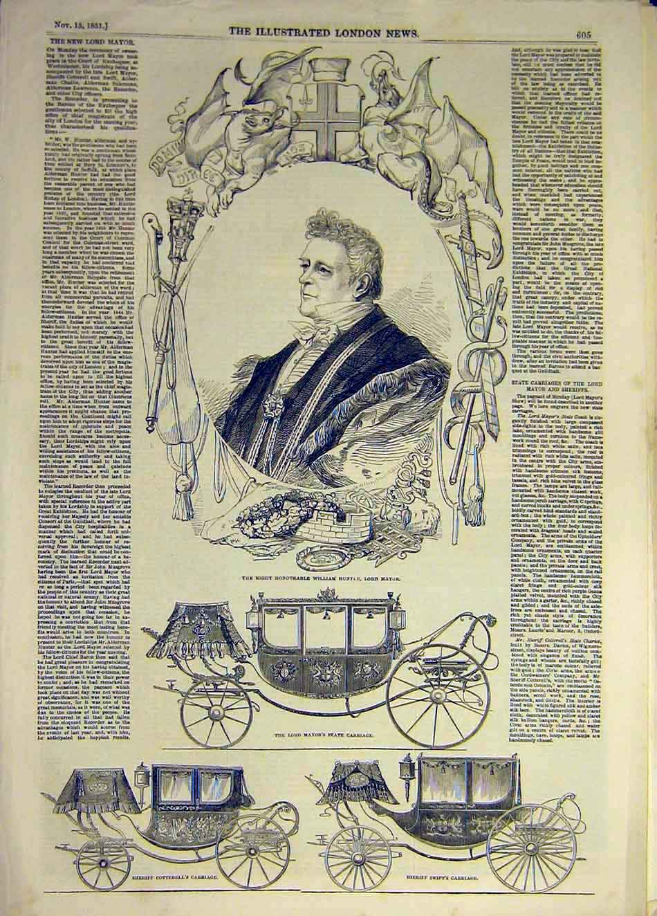 Print 1851 Hunter Mayor Portrait Carriage Sheriff Cotterell 357931 Old Original