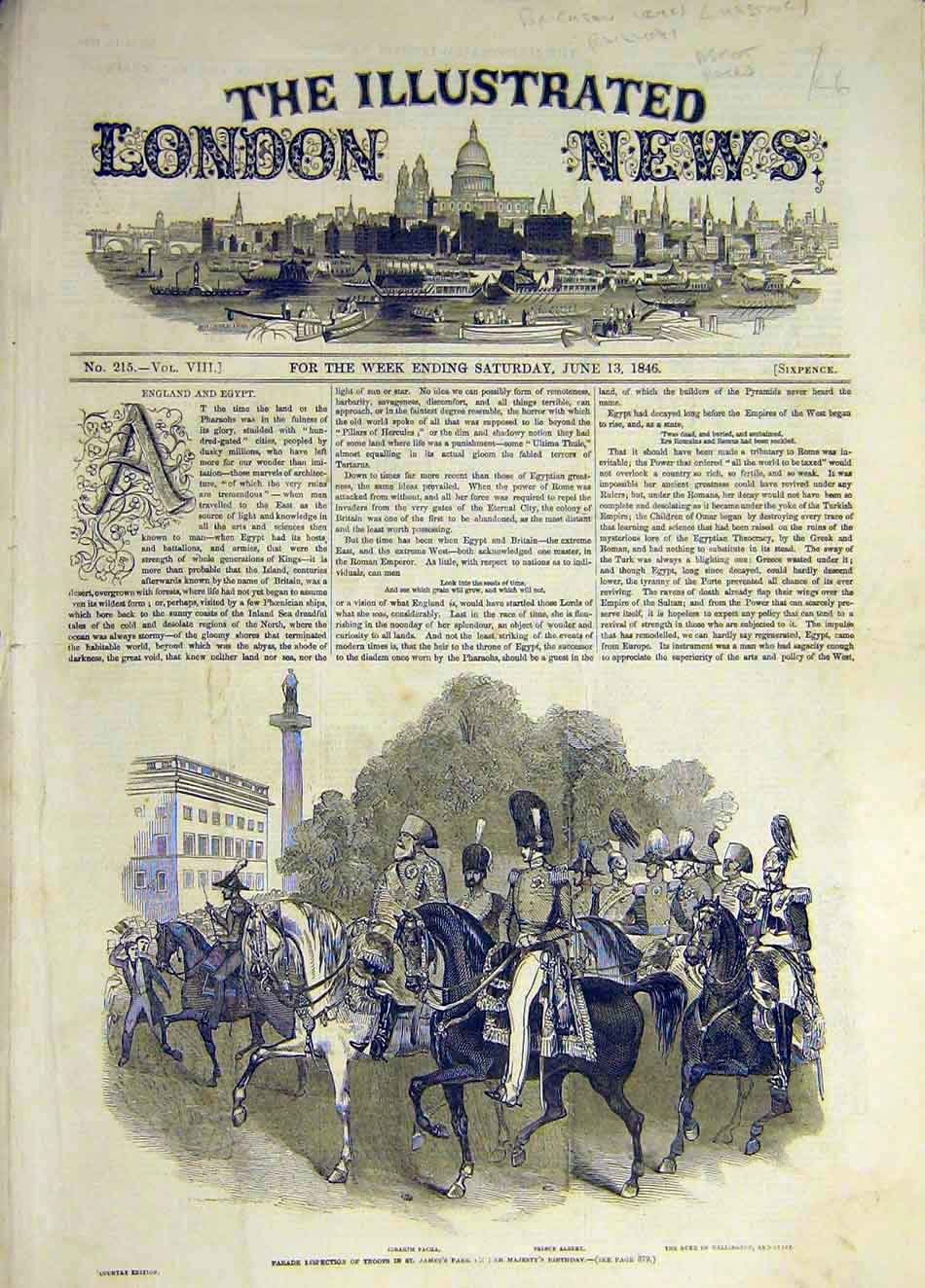 Print 1846 Parade Inspection Troops Pacha Prince Albert 427931 Old Original