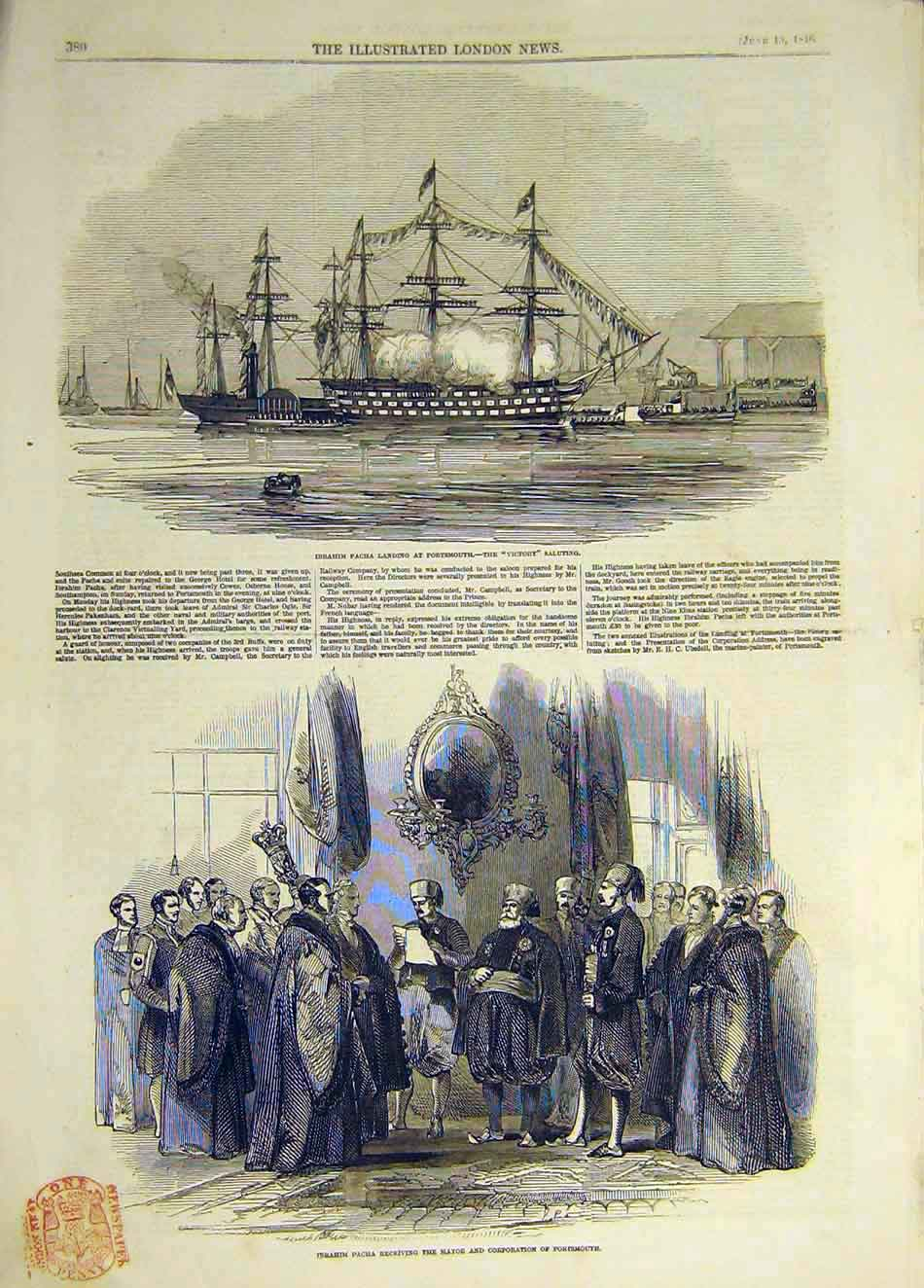 Print 1846 Ibrahim Pacha Victory Salute Portsmouth Mayor 437931 Old Original