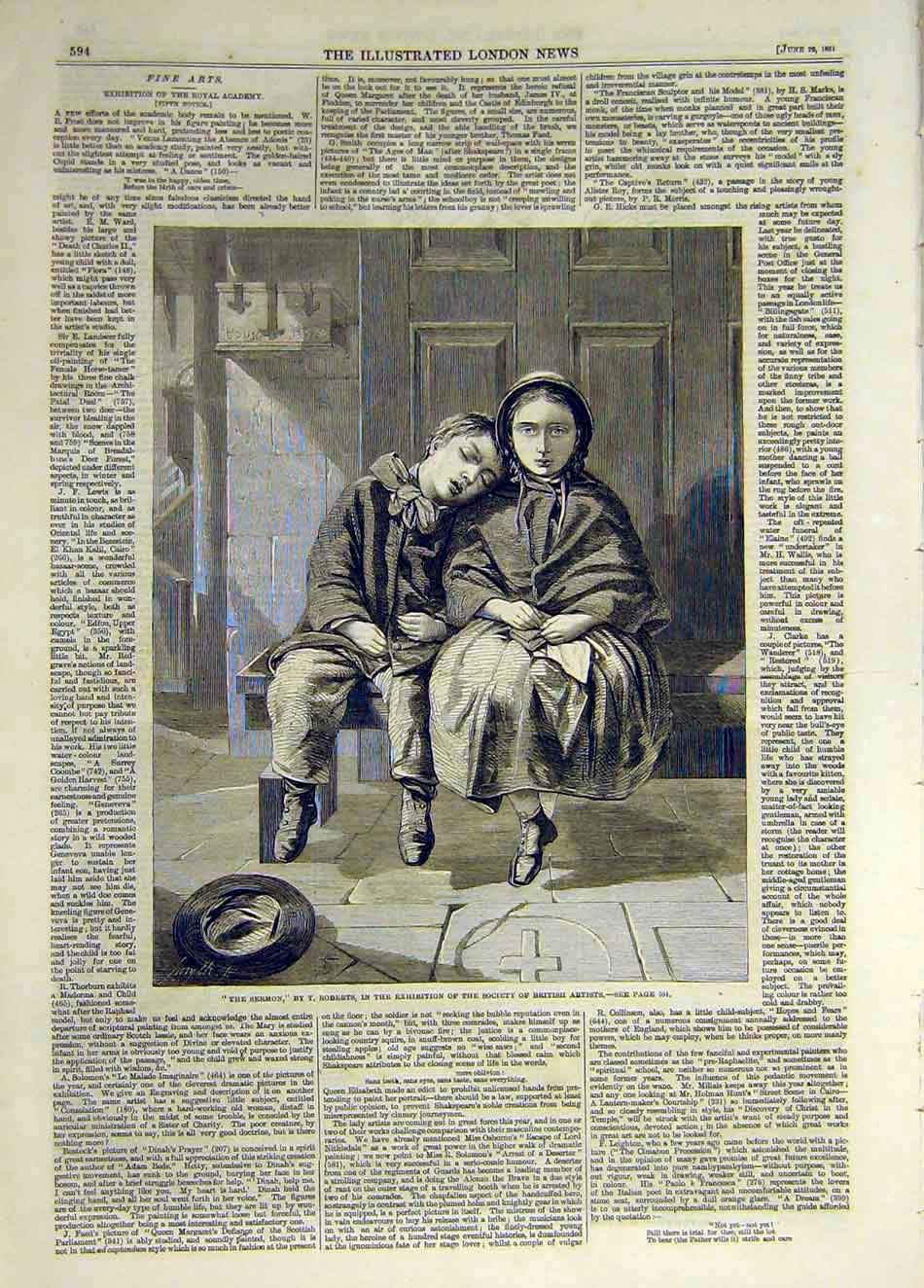 Print 1861 Sermon Roberts Children Boy Girl Church 477931 Old Original