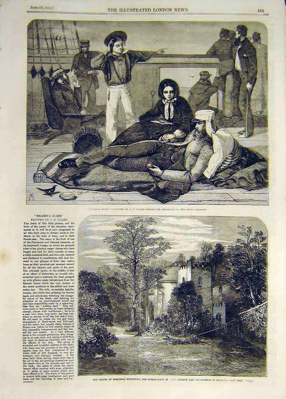 Print 1858 Luard Nearing-Home Chapel Borromeo Philippe 557931 Old Original