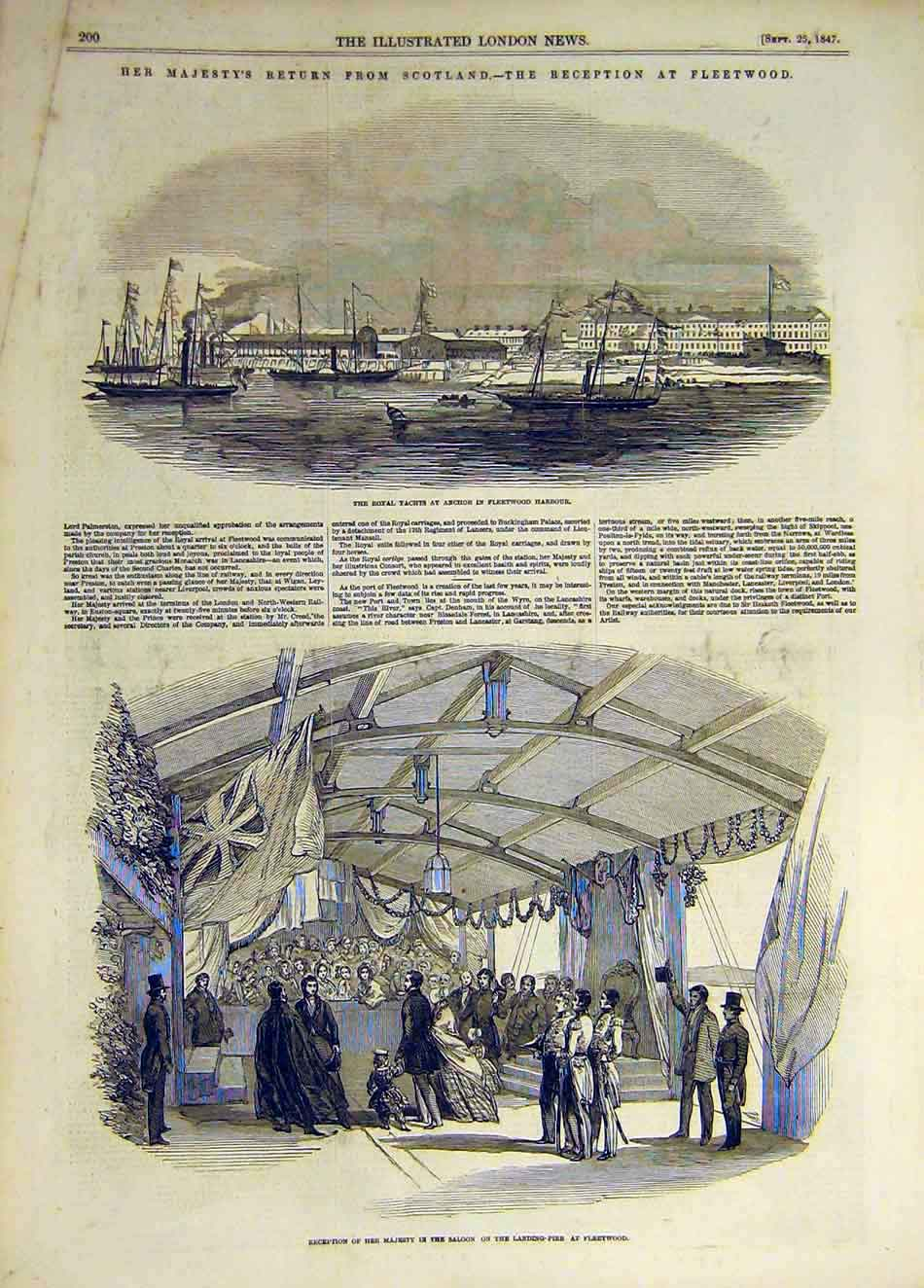 Print 1847 Fleetwood Harbour Royal Yacht Landing-Pier 597931 Old Original