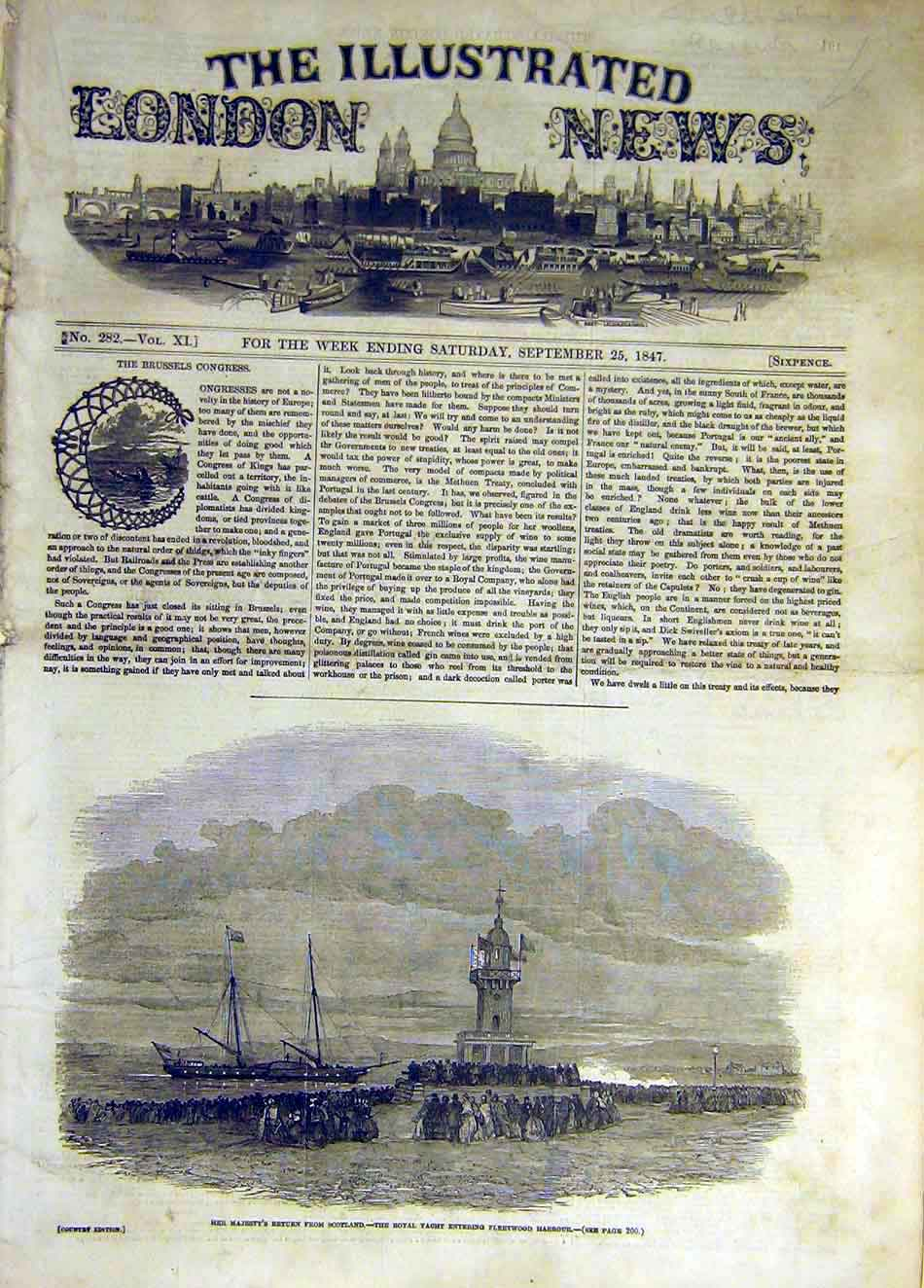 Print 1847 Royal Yacht Fleetwood Harbour 637931 Old Original