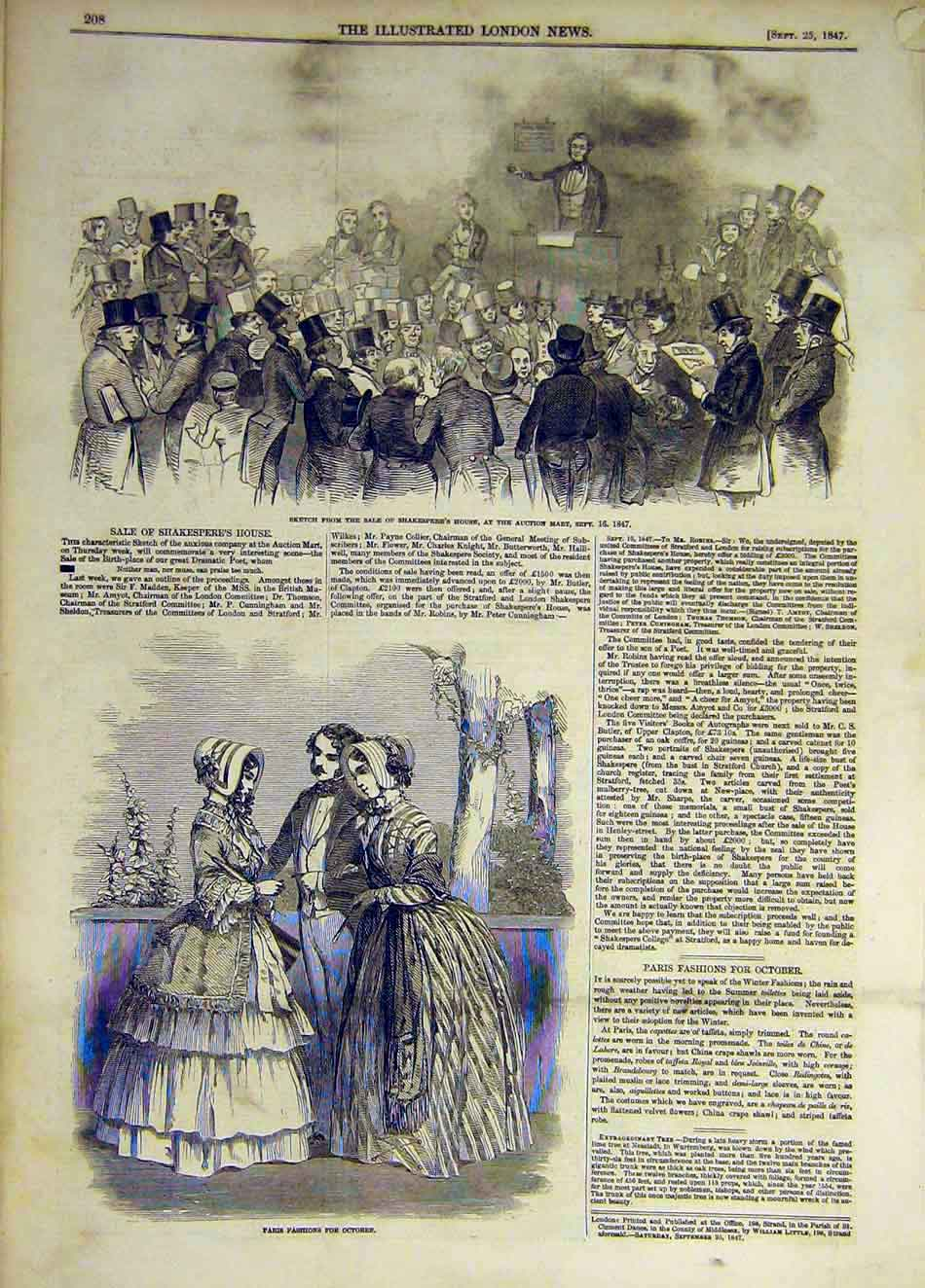 Print 1847 Sketch Shakespeare House Auction Paris Fashions 647931 Old Original