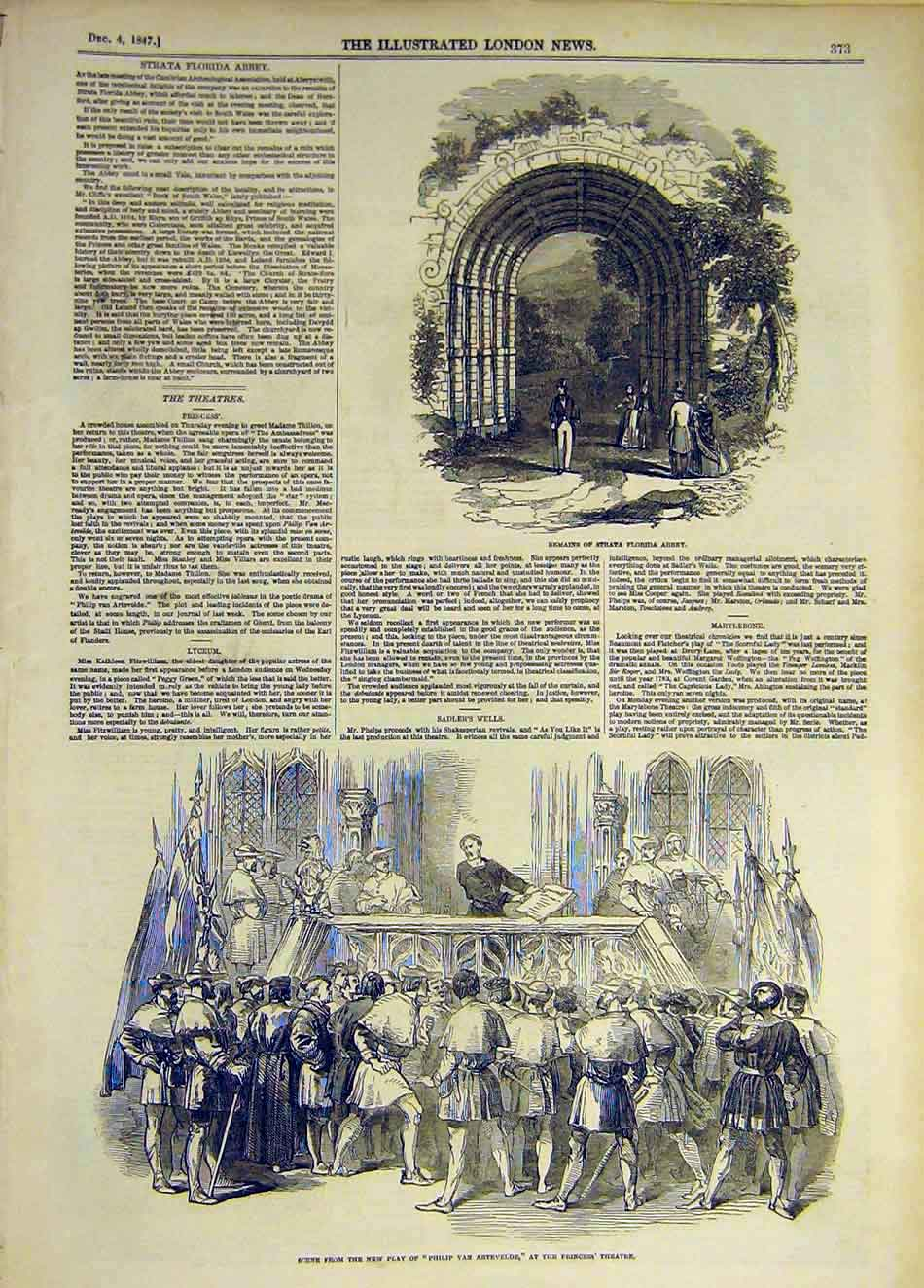 Print 1847 Strata Florida Abbey Scene Play Artevelde Theatre 717931 Old Original