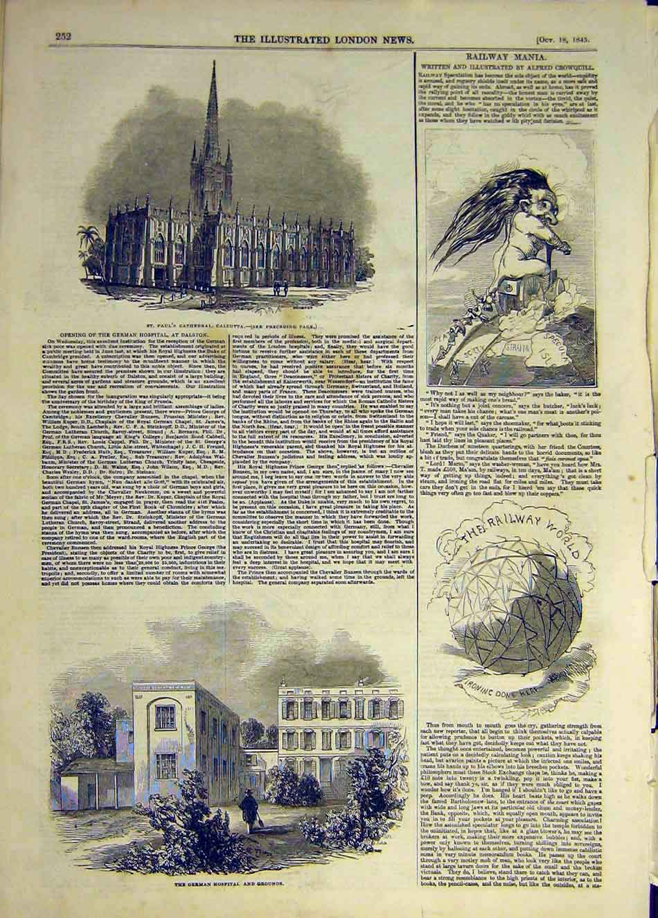 [Print 1845 Cathedral Calcutta Railway Mania German Hospital 747931 Old Original]