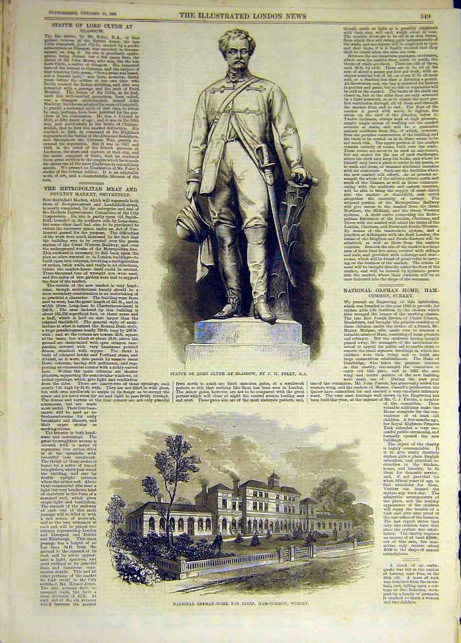 Print 1868 Statue Clyde Glasgow Orphan-Home Girls Surrey 787931 Old Original