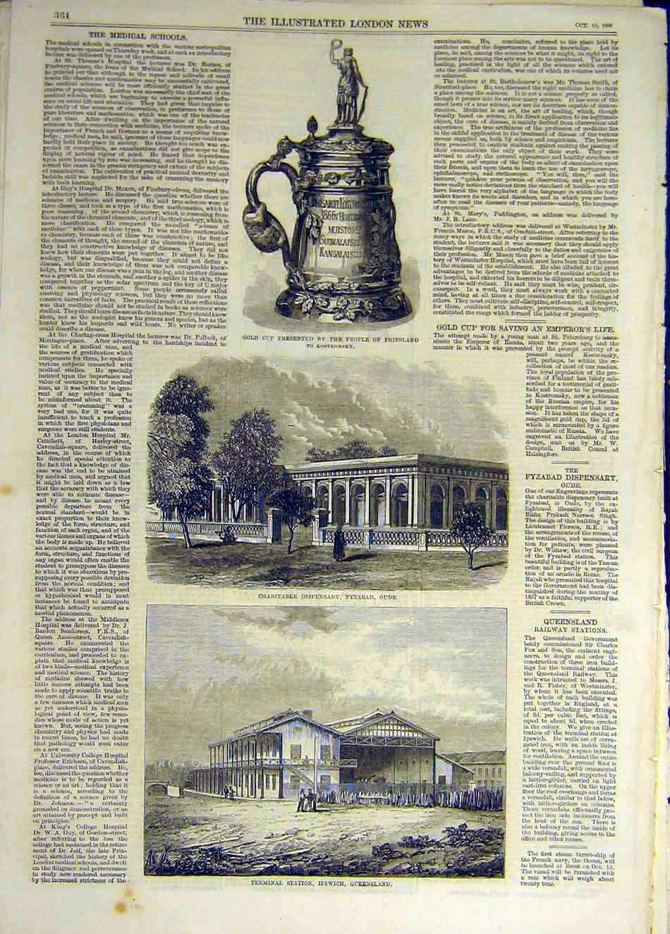 Print 1868 Gold-Cup Friesland Dispensary Fyzabad Ipswich 797931 Old Original