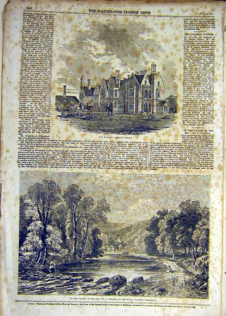 Print 1860 Fox-Warren Surrey Building Valley Esk Chester 917931 Old Original