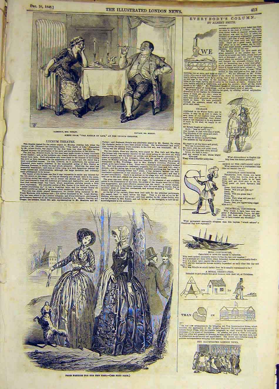 Print 1846 Lyceum Theatre Scene Ladies Paris Fashions 937931 Old Original