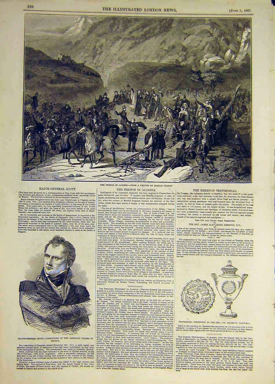 Print 1847 French Algiers Vernet Scott Mexico Hanwell 967931 Old Original
