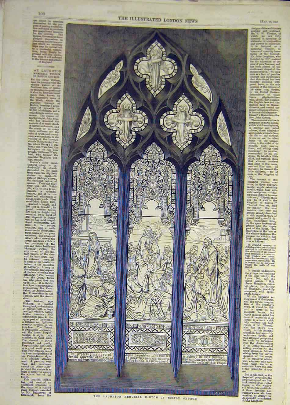 Print 1859 Laughton Memorial Window Boston Church Sketch 007931 Old Original