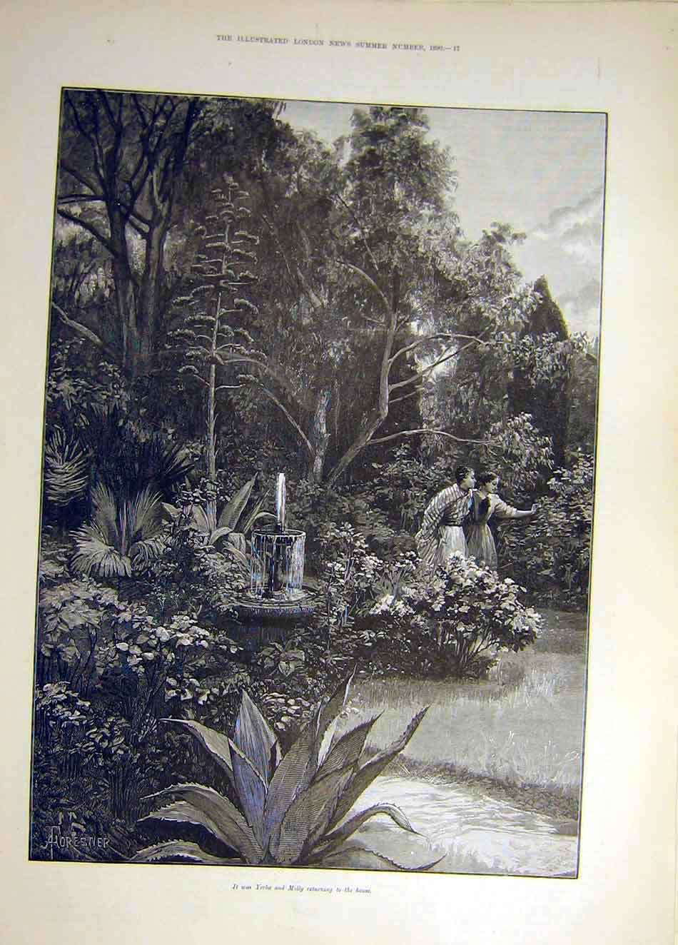 Print 1890 Yerba Milly Garden Fountain Lady Man 097931 Old Original