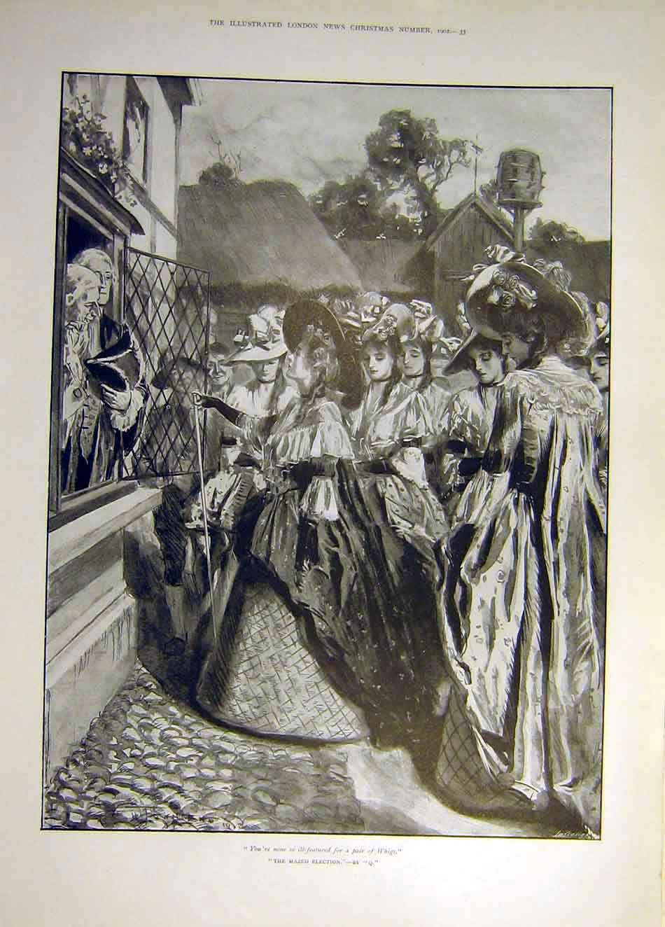 Print 1902 Mazed Election Q Whigs Ill-Featured Ladies People 127931 Old Original