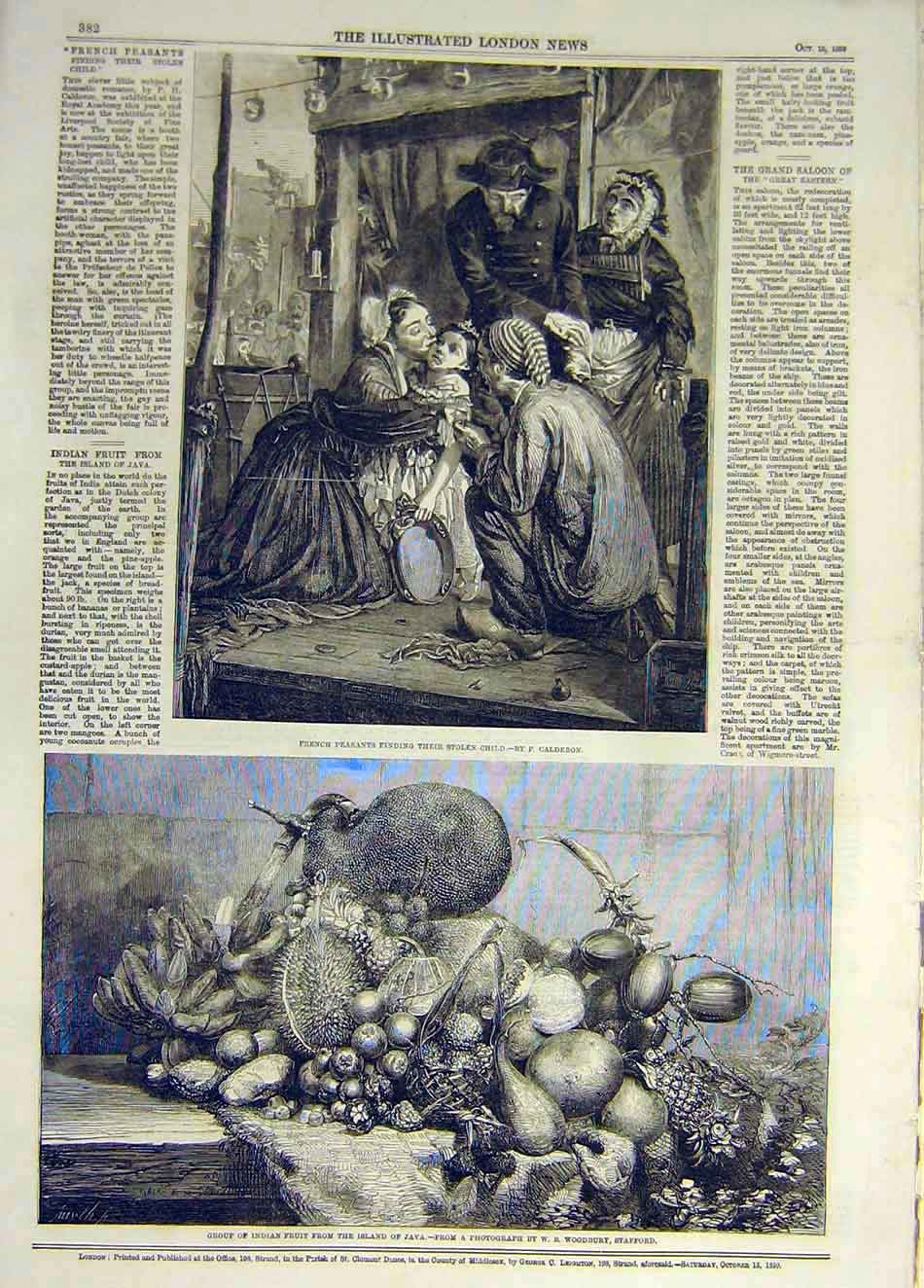 Print 1859 French Peasants Child Calderon Indian Fruit Java 137931 Old Original