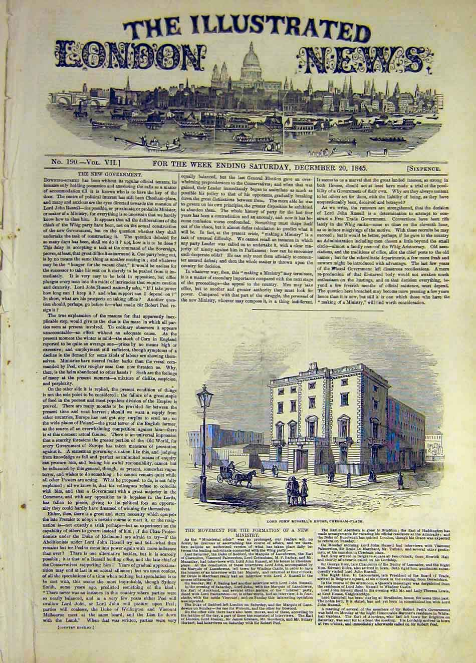 Print 1845 Russell House Chesham Place Building 157931 Old Original