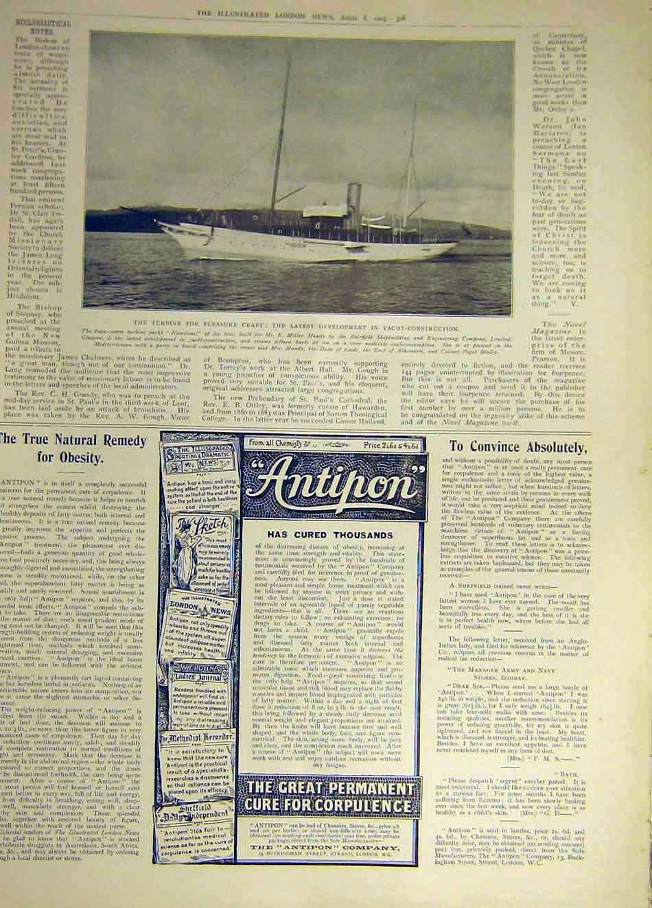 Print 1905 Turbine Yacht Construction Pleasure Craft 197931 Old Original