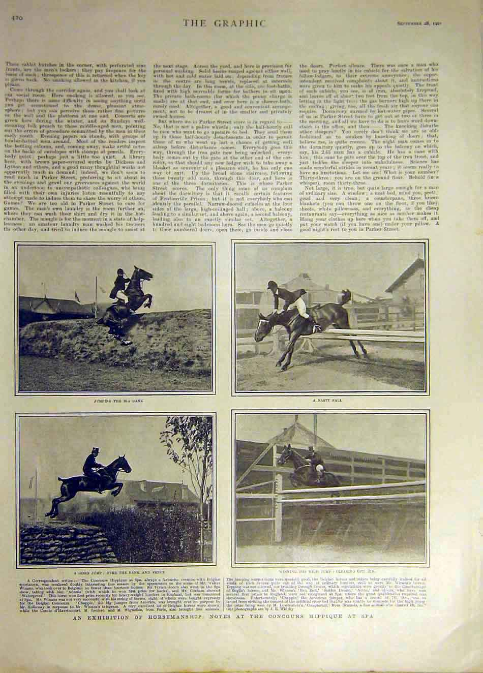Print 1901 Horse-Manship Concours Hippique Spa Jumping 327931 Old Original
