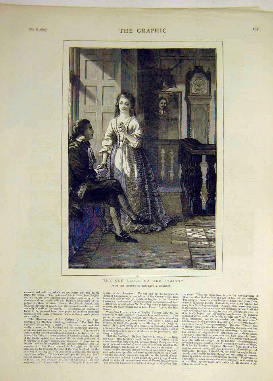 Print 1873 Old-Clock Stairs Rankley Lady Man Fine Art 467931 Old Original