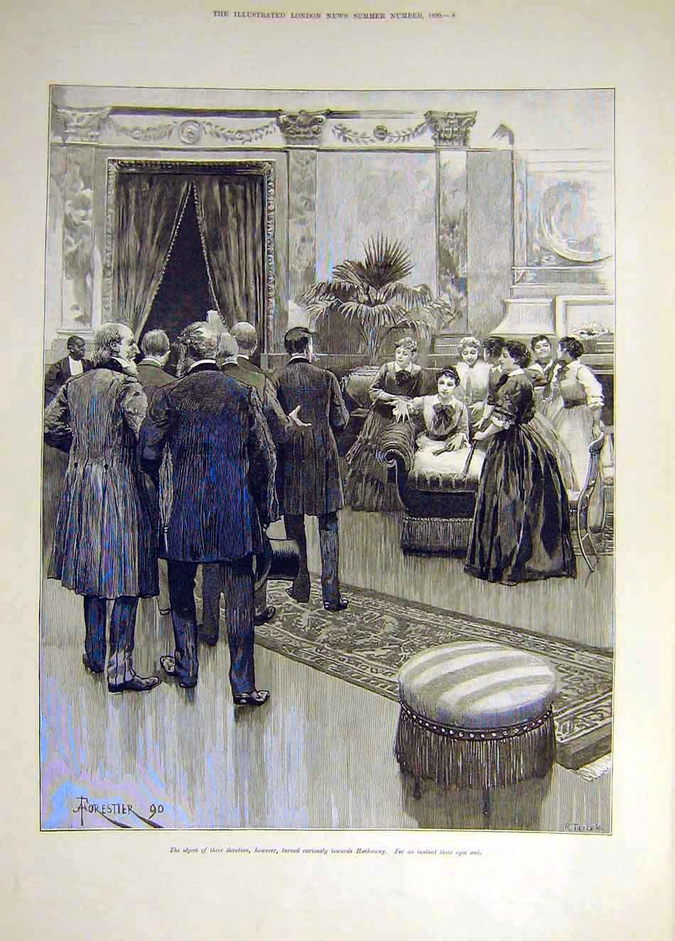 Print 1890 Hathaway Forestier People 487931 Old Original