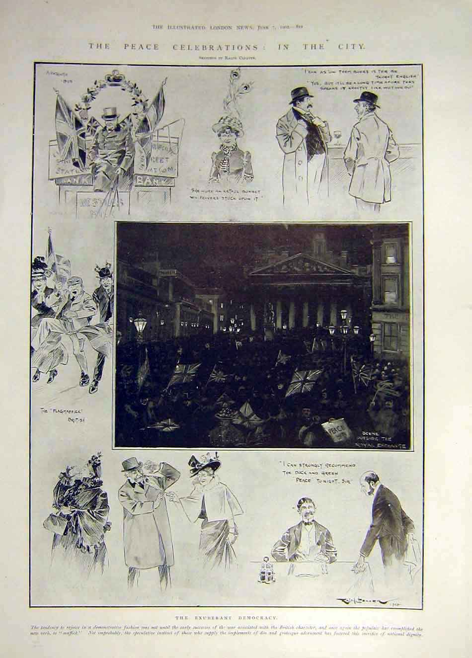 Print 1902 Peace Celebrations City Cleaver Democracy 497931 Old Original