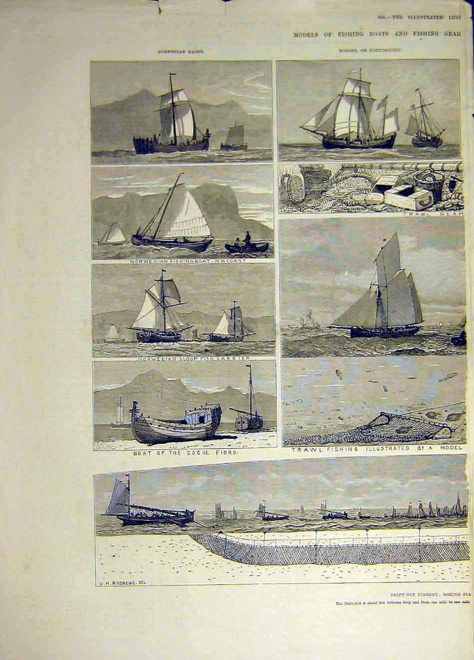 Print 1883 Drift-Net Fishery Boats Fishing Trawler Norwegian 507931 Old Original