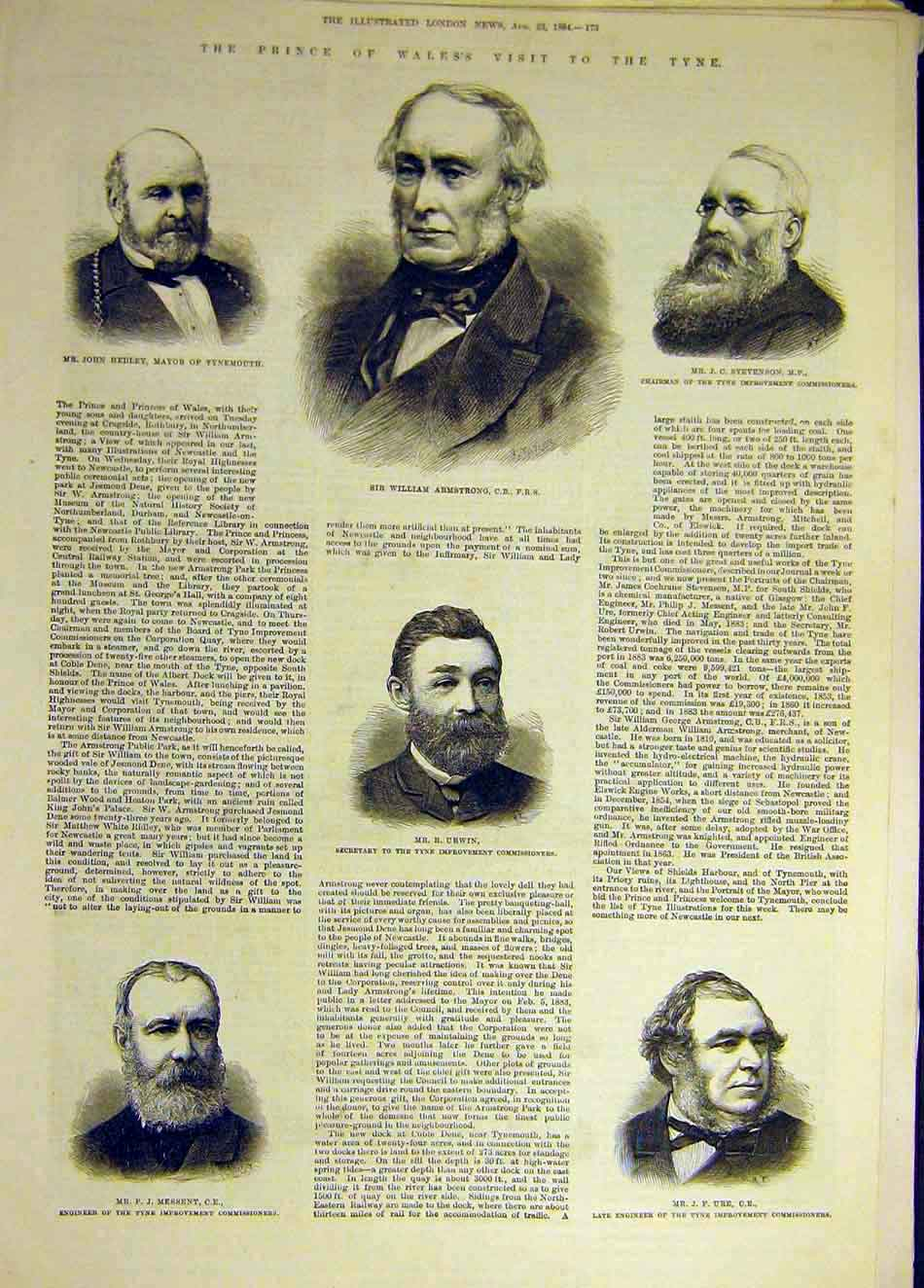Print 1884 Tyne Ure Hedley Stevneson Armstrong Urwin Messent 597931 Old Original