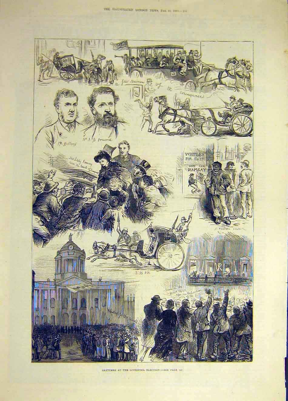 Print 1880 Liverpool Election Sketches People 697931 Old Original