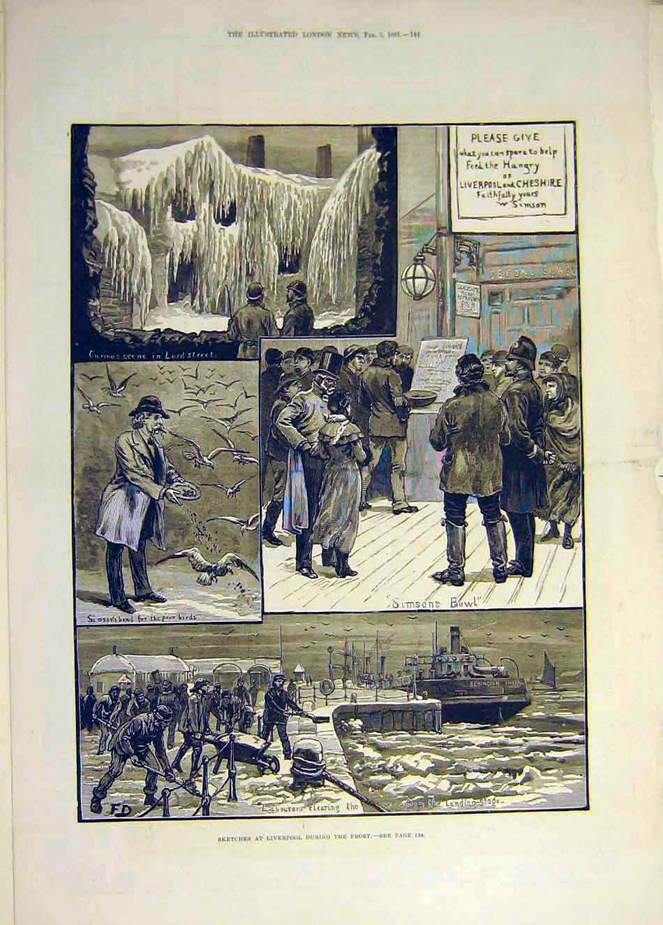 Print 1881 Sketches Liverpool Frost Lord-Street Simson'S Bowl 717931 Old Original