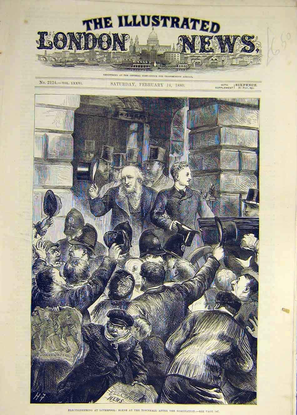 Print 1880 Elections Liverpool Townhall Nomination Scene 837931 Old Original