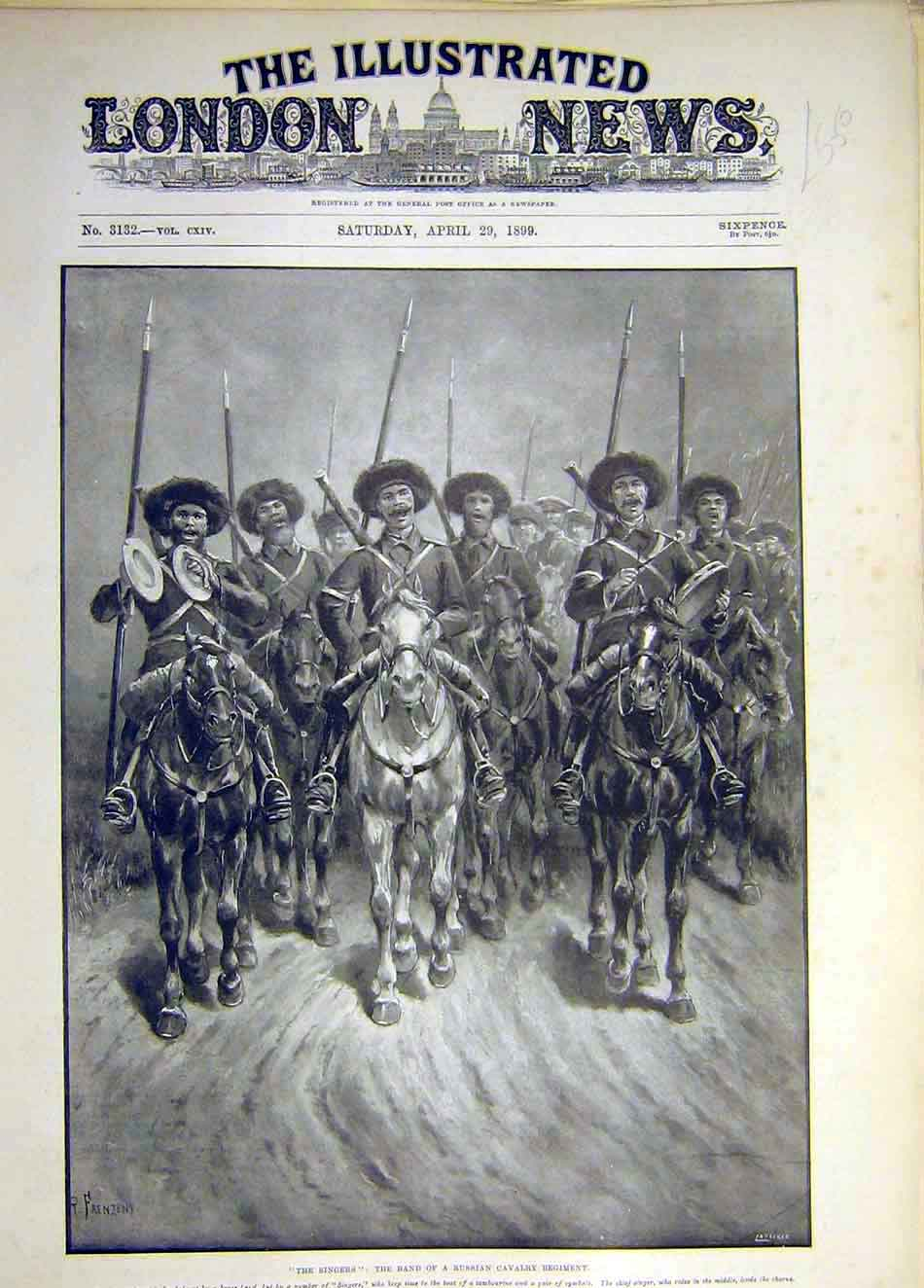 Print 1899 Singers Band Russian Cavalry Regiment Tambourine 897931 Old Original