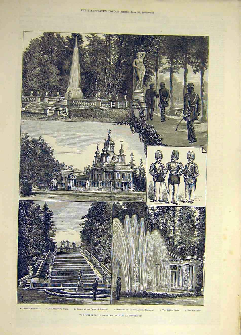 Print 1883 Ppeterhof Emperor Russia Palace Fountain 907931 Old Original