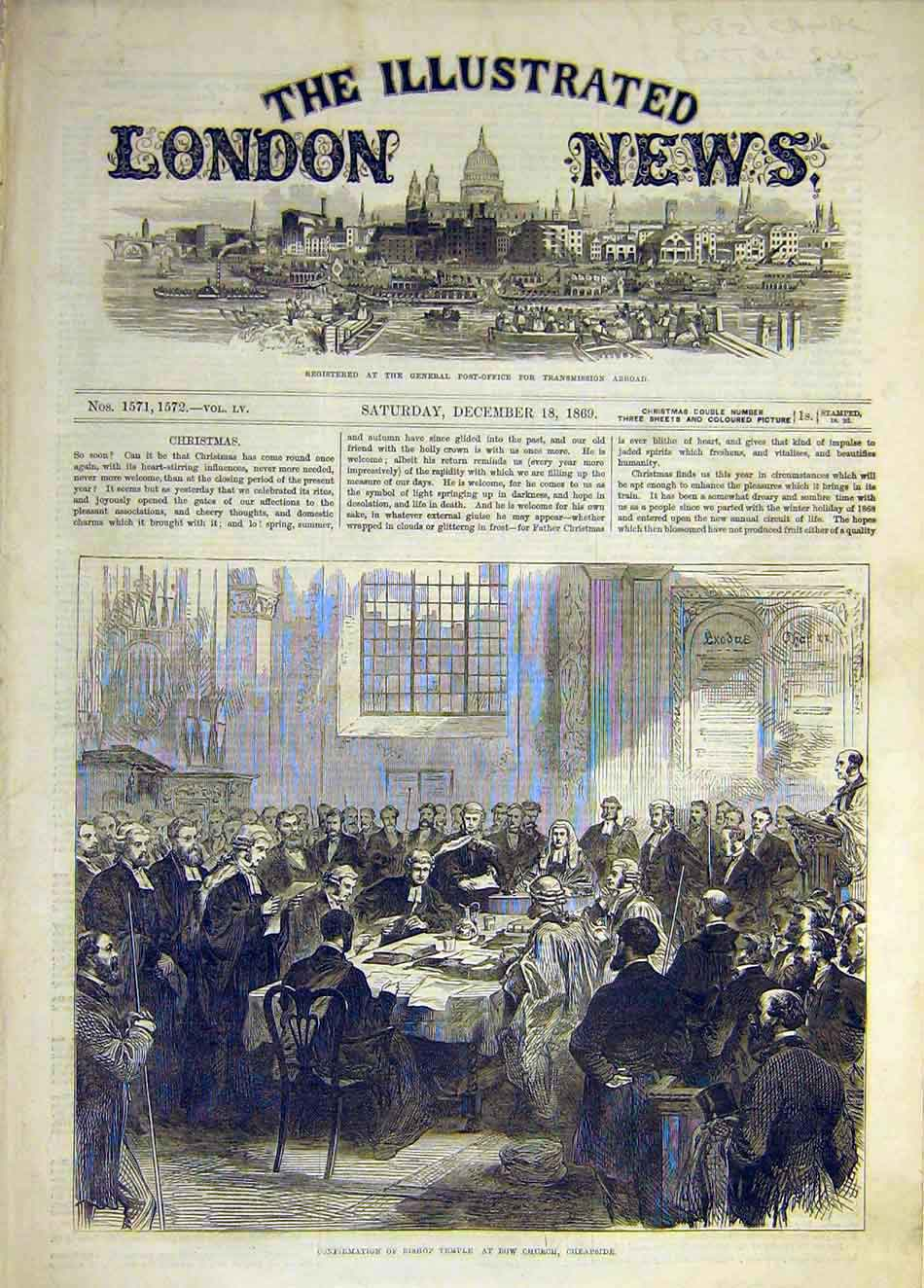Print 1869 Confirmation Bishop Temple Bow Church Cheapside 027931 Old Original