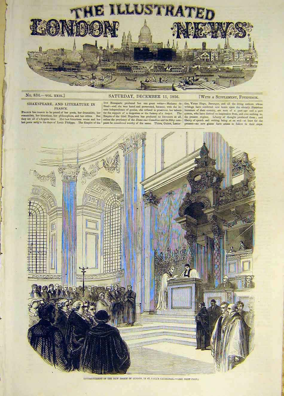 Print 1856 St Paul'S Cathedral Bishop London Enthronement 047931 Old Original
