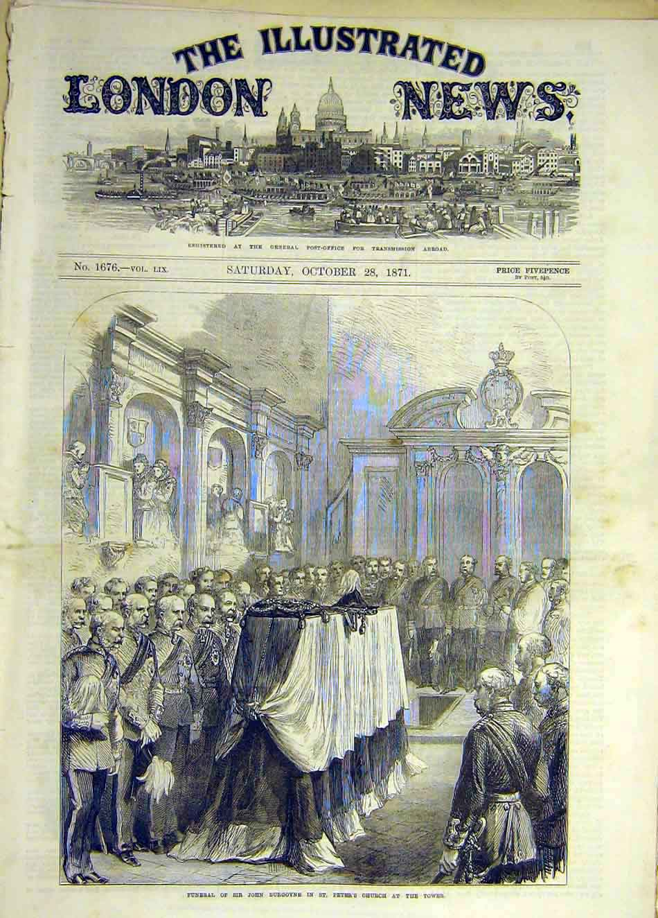 Print 1871 Burgoyne Funeral St Peter'S Church Tower 057931 Old Original