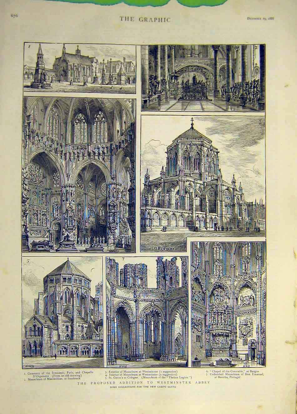 Print 1888 Westminster Abbey Building Proposed Campo Santo 067931 Old Original