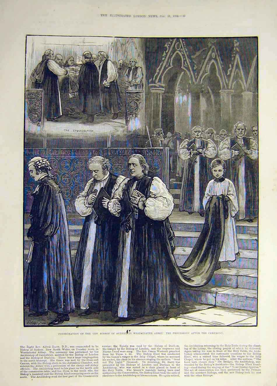 Print 1884 Bishop Sydney Westminster Procession Consecration 077931 Old Original