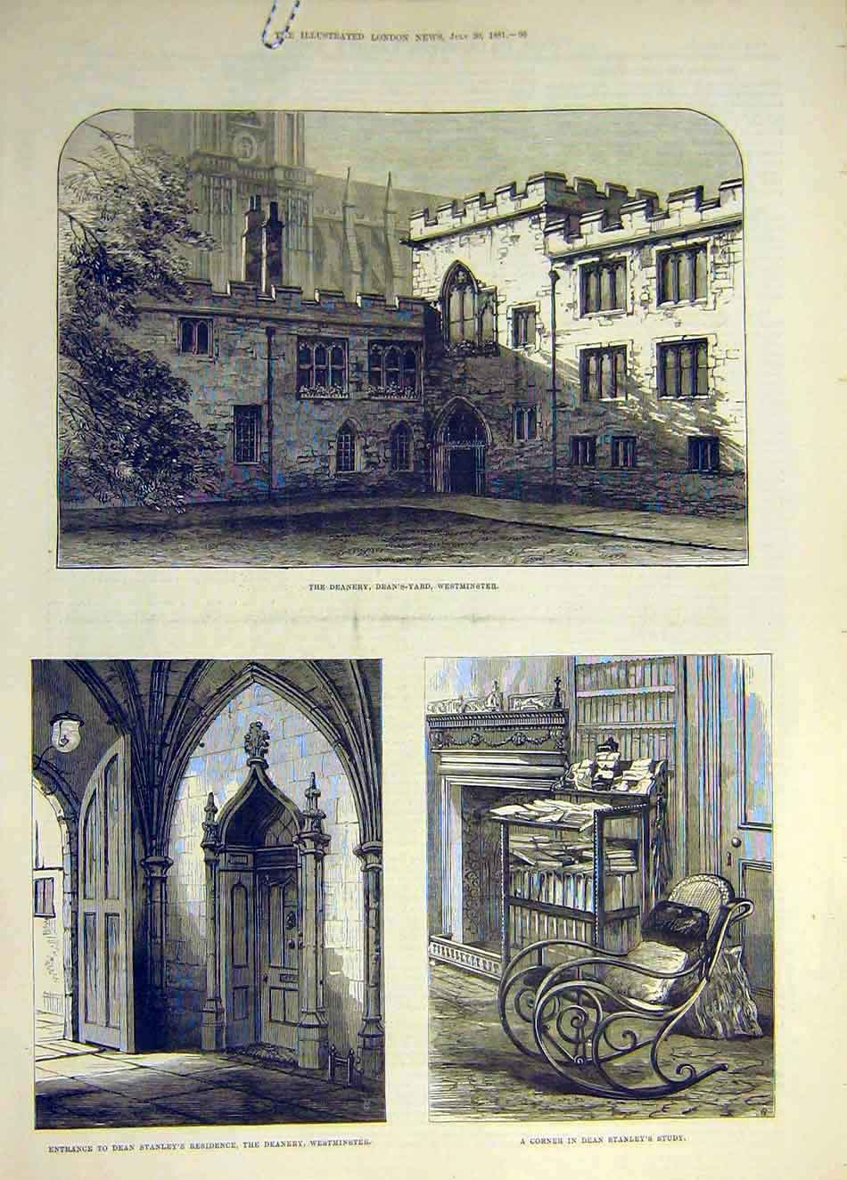 Print 1881 Deanery Westminster Deans Tanley Study 107931 Old Original