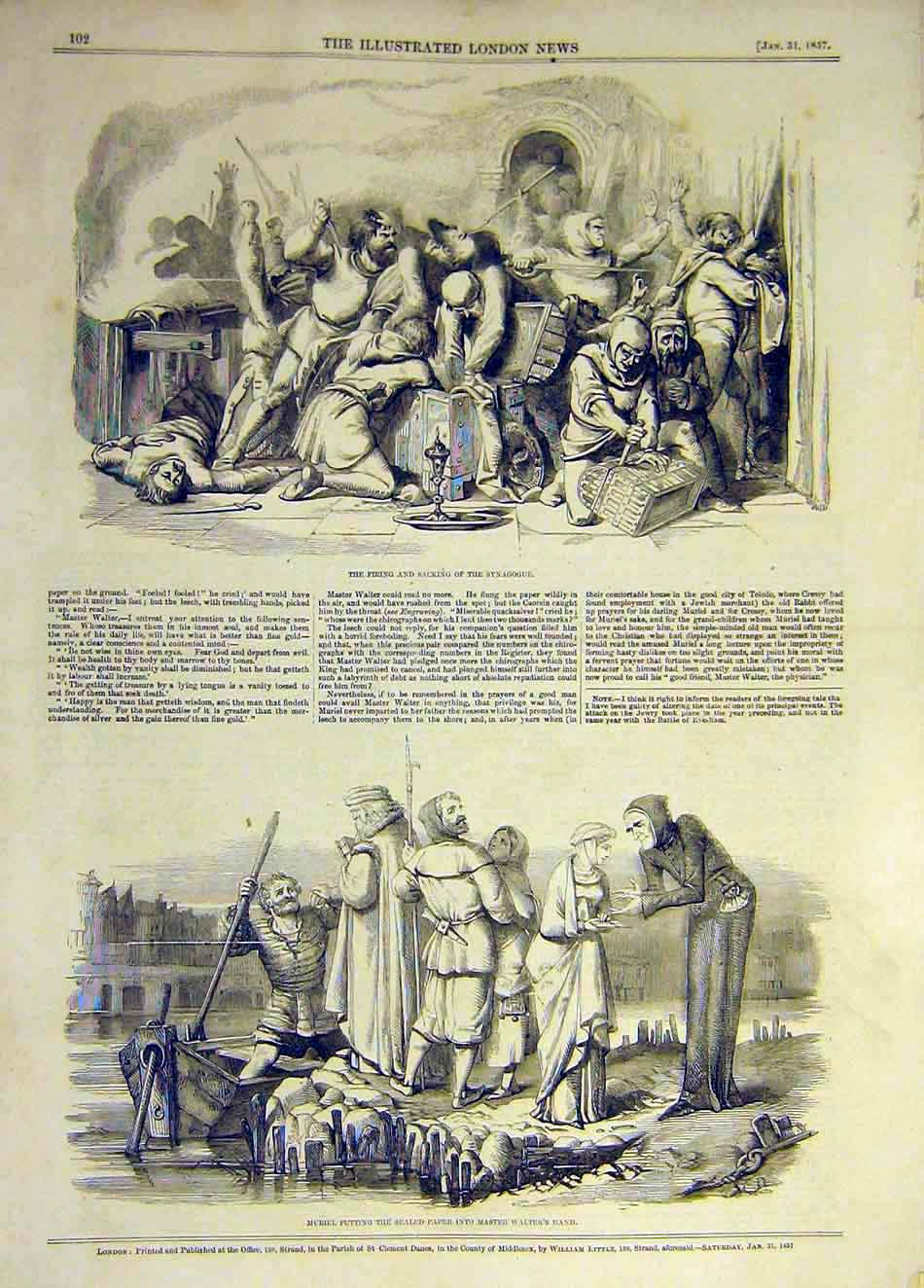 Print 1857 Synagogue Firing Sacking Muriel Walter Paper 127931 Old Original