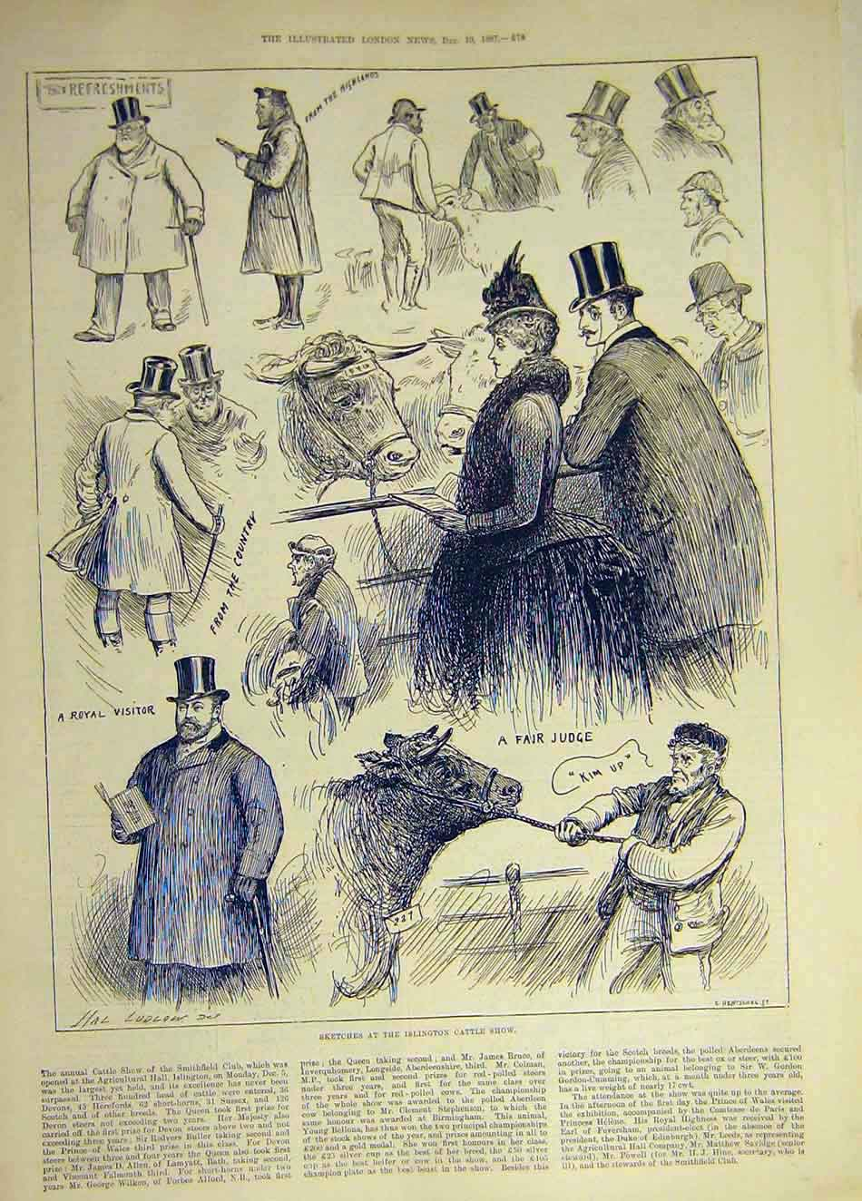 Print 1887 Sketches Islington Cattle Show Judge Visitor 187931 Old Original