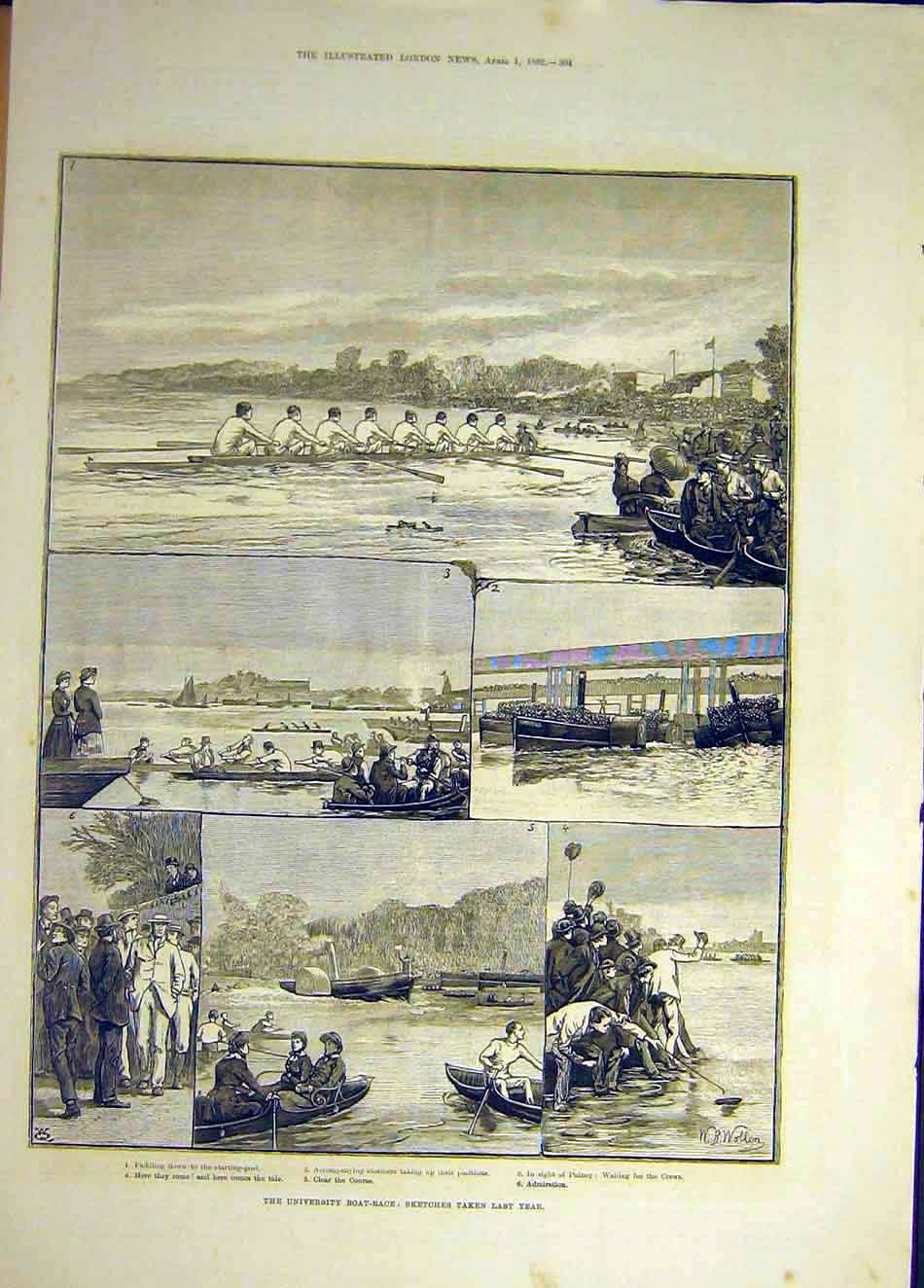 Print 1882 Sketches Universities Boat-Race Previous Year 027941 Old Original