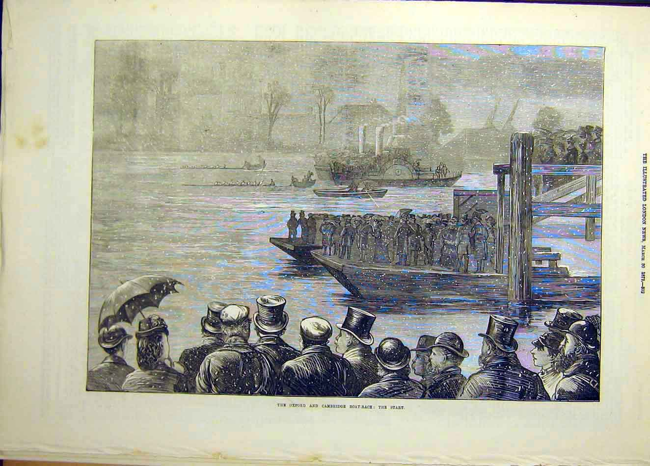 Print 1872 Oxford Cambridge Boat-Race Start Universities 047941 Old Original