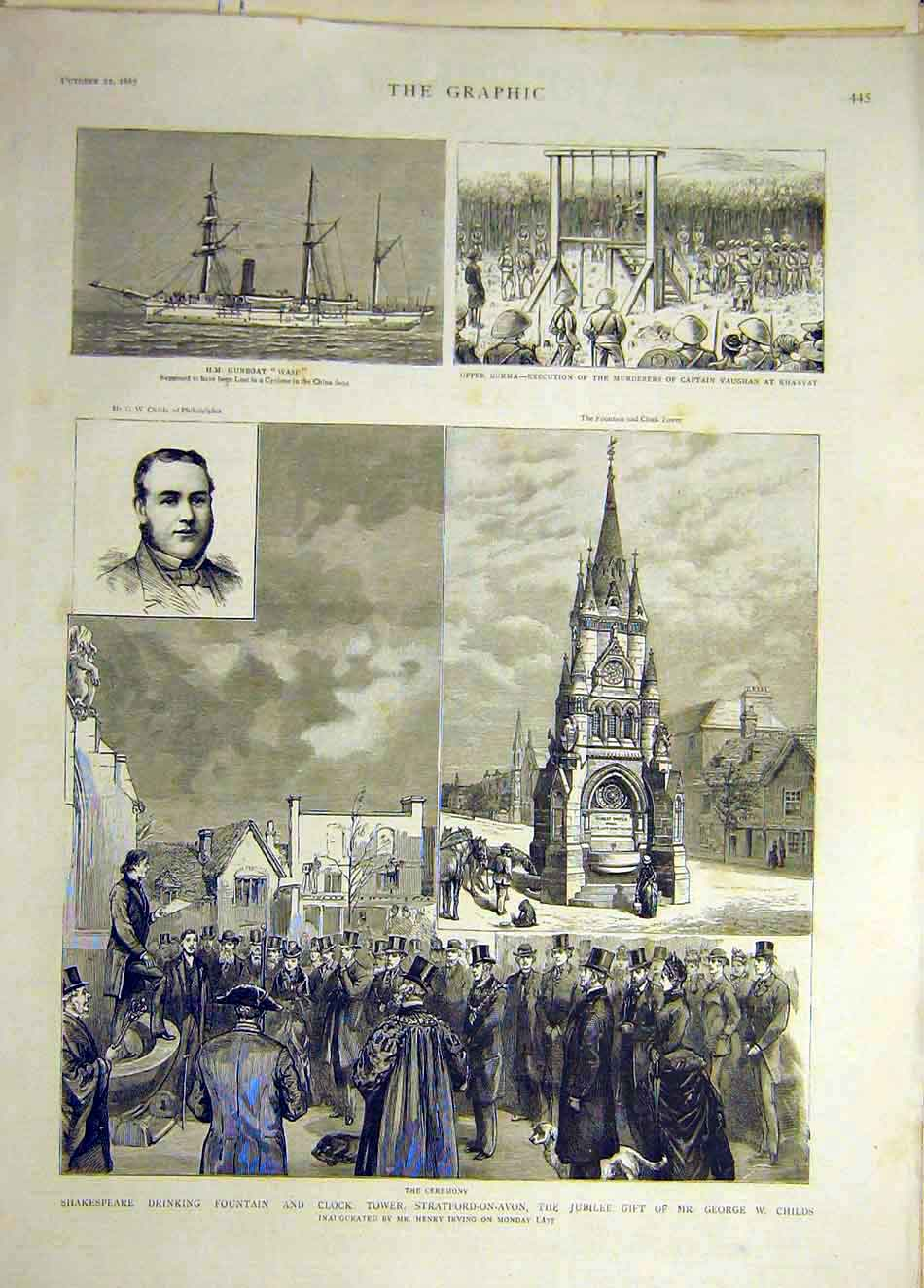 Print 1887 Shakespeare Fountain Childs Burma Vaughan Wasp 307941 Old Original