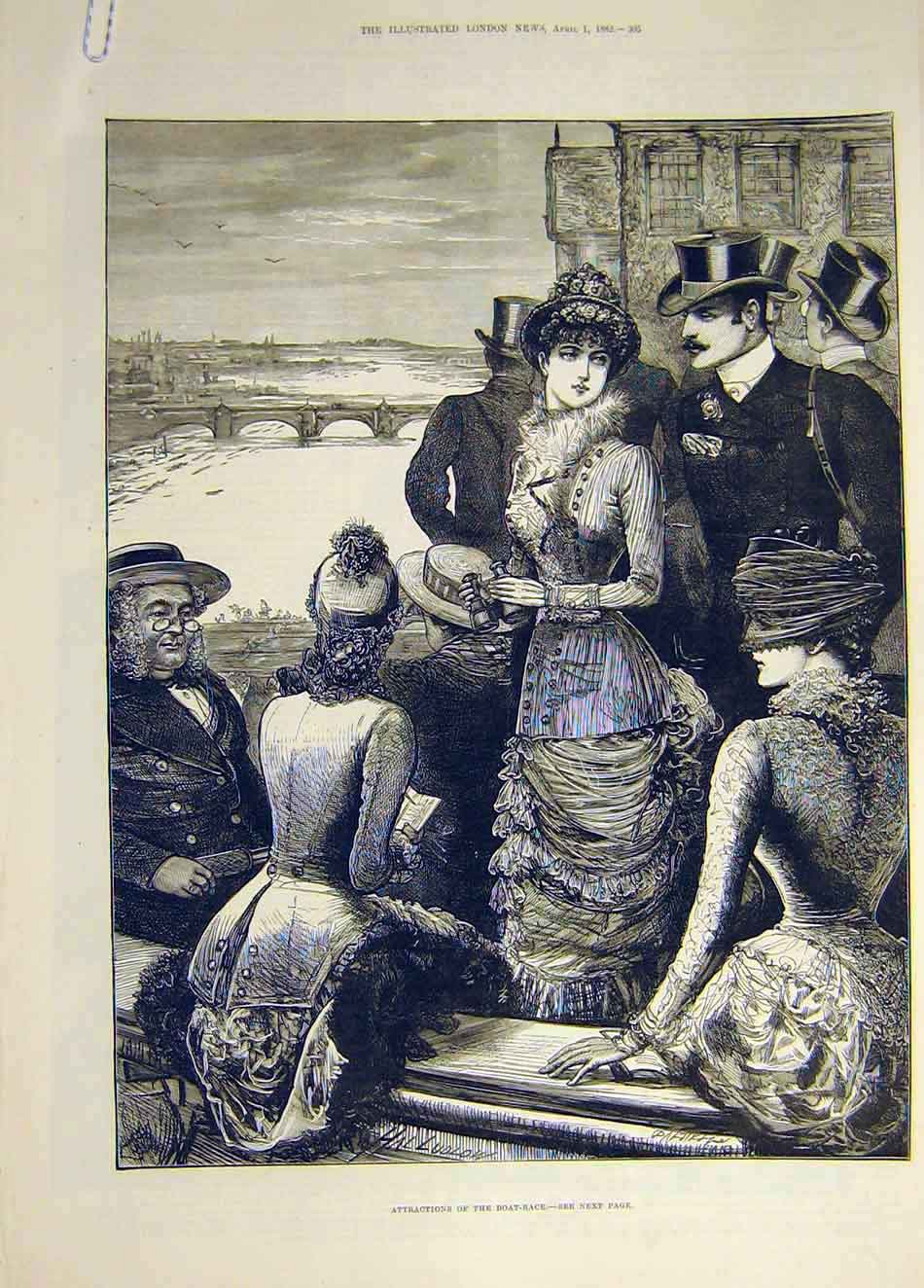 Print 1882 Boat Race Attractions Ladies University 487941 Old Original