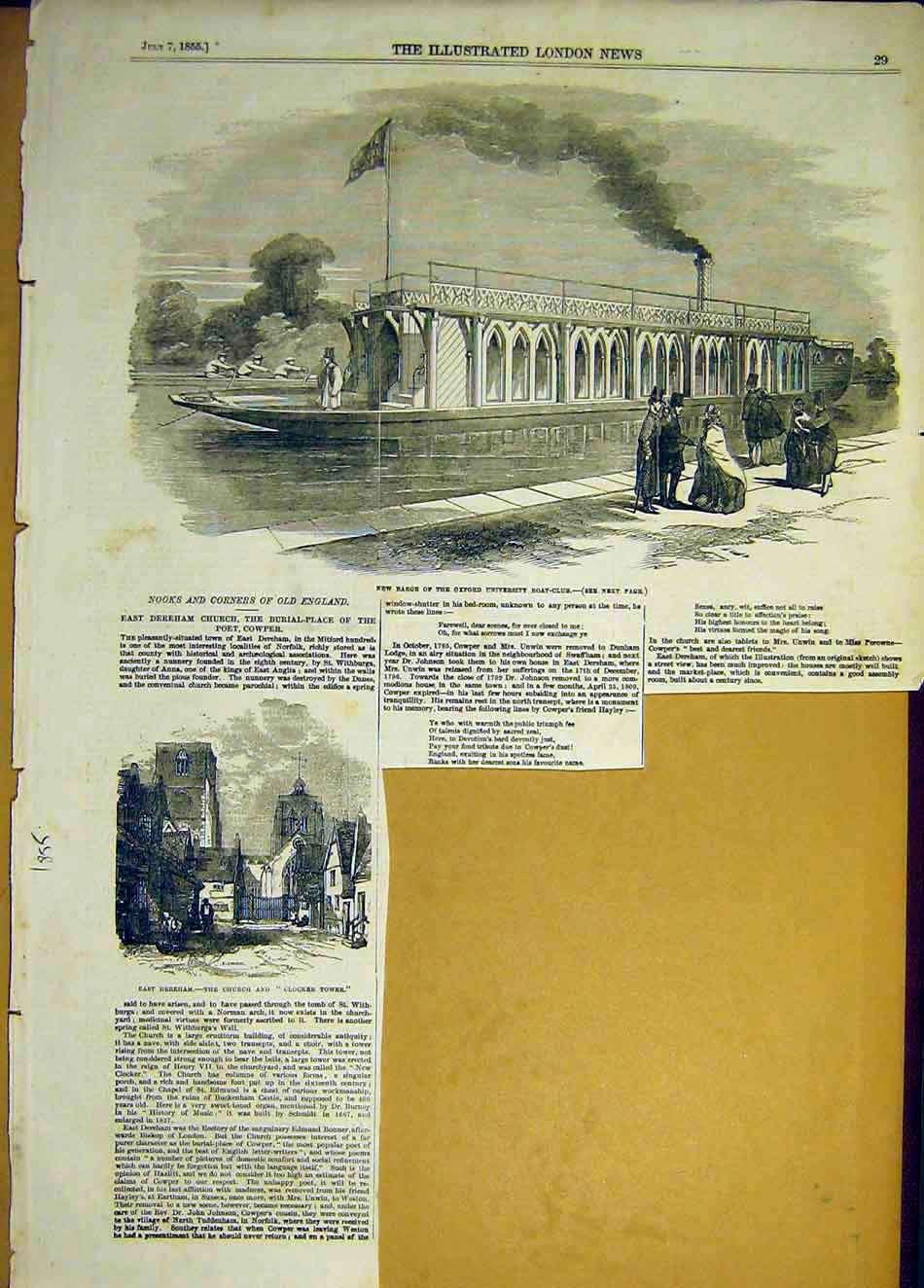 Print 1855 Barge Oxford Universtiy Boat Club Dereham Church 547941 Old Original