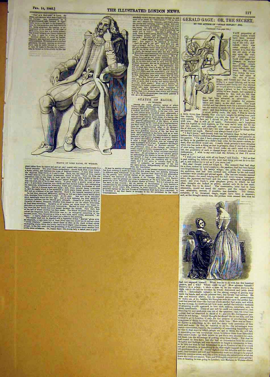 Print 1846 Statue Bacon Weekes Gage Secret 567941 Old Original