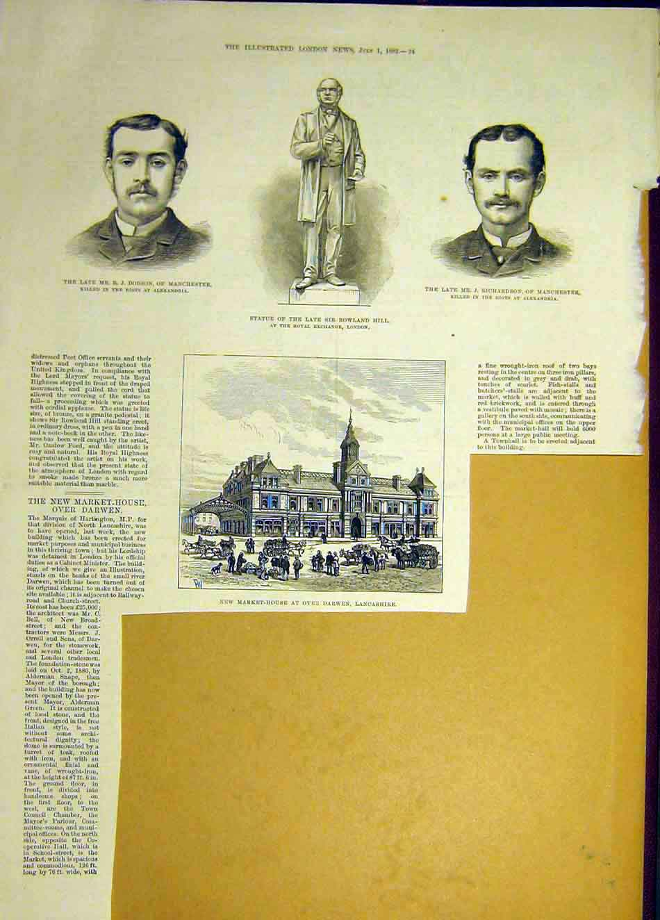 Print 1882 Dobson Hill Statue Richardson Darwen Market-House 587941 Old Original