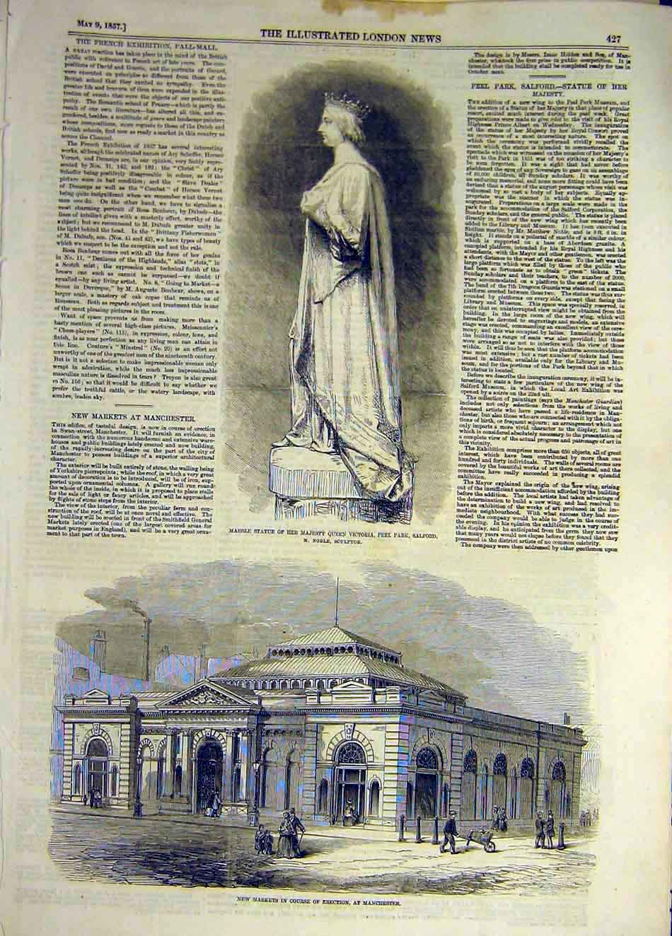Print 1857 Salford Statue Queen Market Building Manchester 707941 Old Original