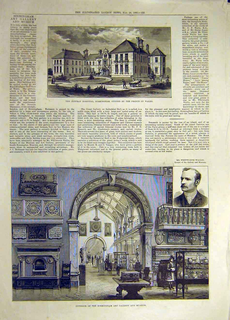 [Print 1885 Jaffray Hospital Birmingham Art Gallery Building 747941 Old Original]