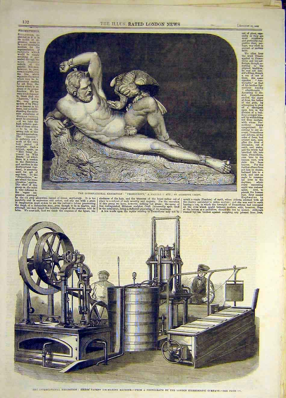 Print 1862 Prometheus Marble Statue Croft Ice-Making Machine 787941 Old Original